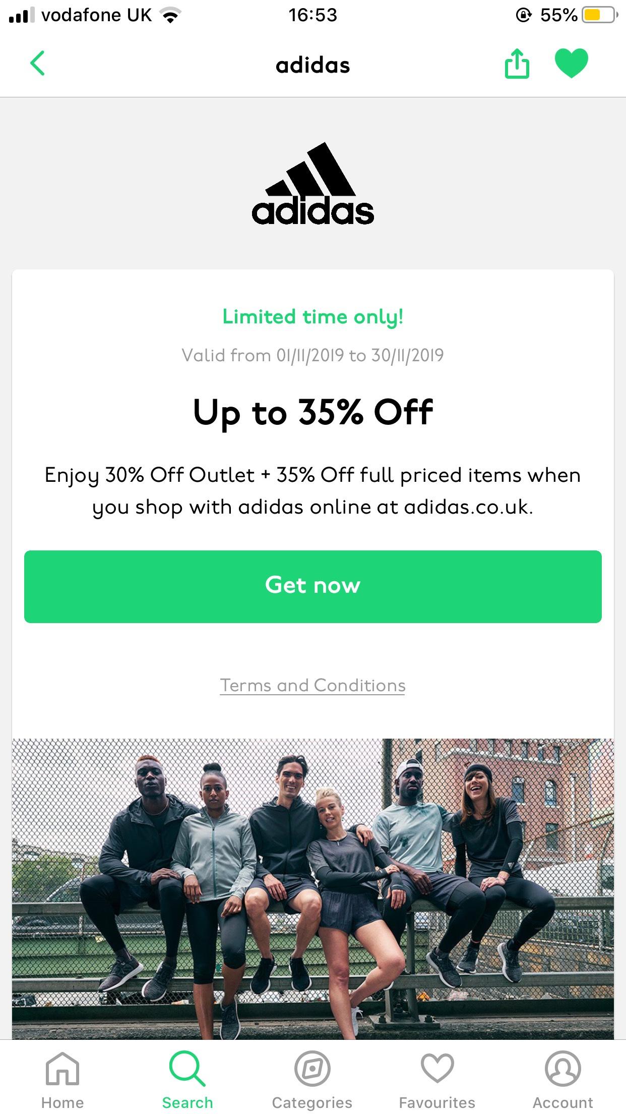 Adidas 35% off Unidays