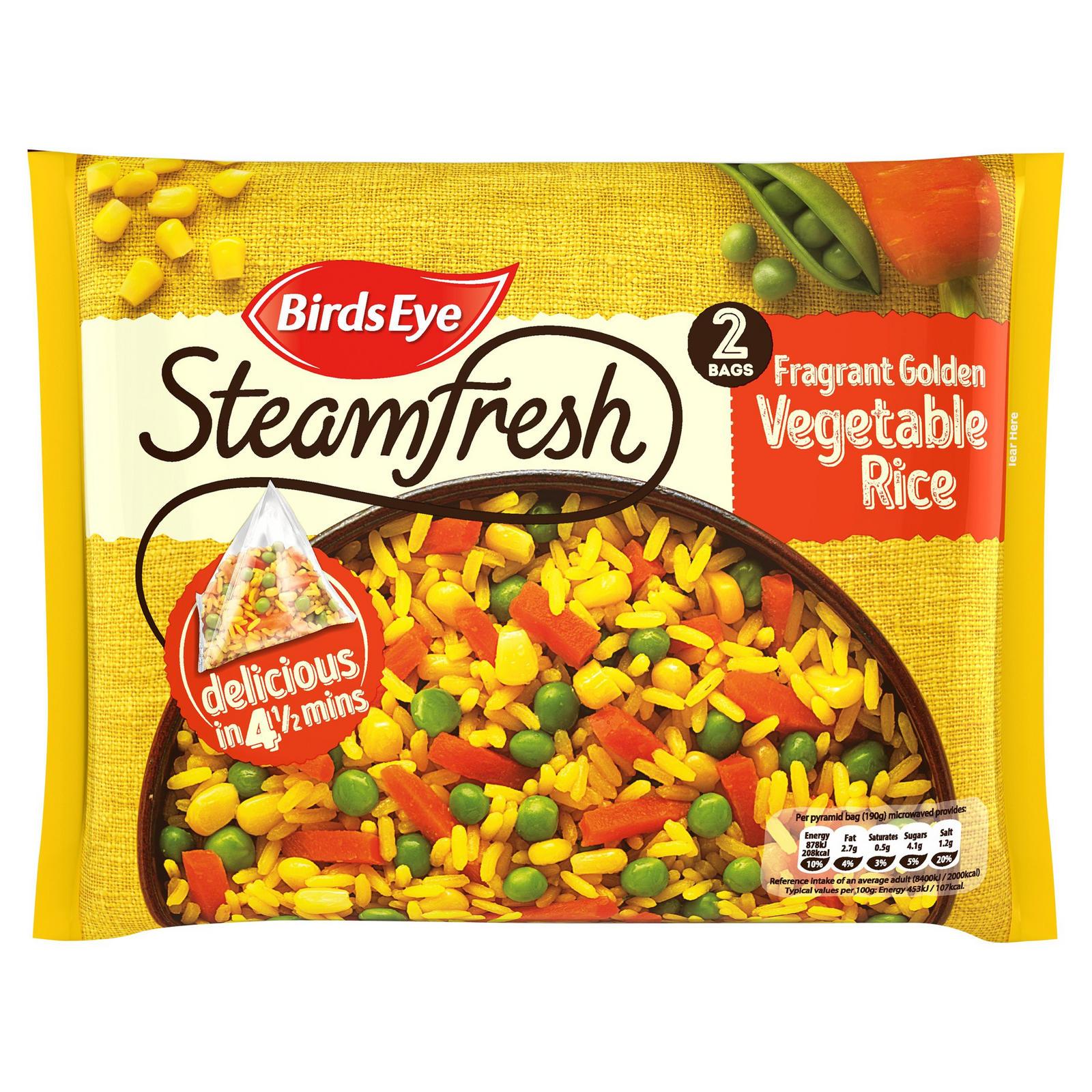 2 Servings Birds Eye Steamfresh Fragrant Golden Vegetables With Rice / Steamfresh Green Medley £1 @ Iceland