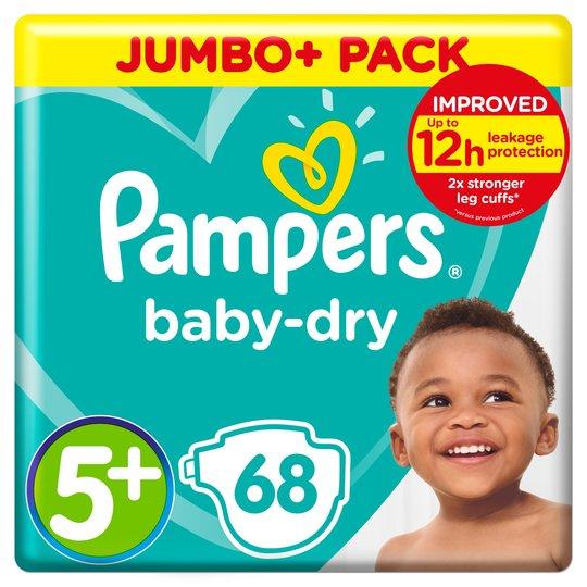 Pampers Baby Dry Size 5+ Jumbo 68 Nappies £9 @ Sainsbury's