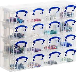 Really Useful Organiser, 16 x 0.14 Litre Storage Boxes in a Clear Plastic Organiser and Clear Boxes £4.80 (Prime) £5.79 (Non-Prime) @ Amazon