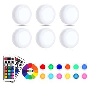 Pursnic Under Cabinet Lights, RGB Wireless LED Puck Lights x 6 £8.49 + £4.49 delivery Non Prime @ Balder Direct(Euro) Fulfilled by Amazon