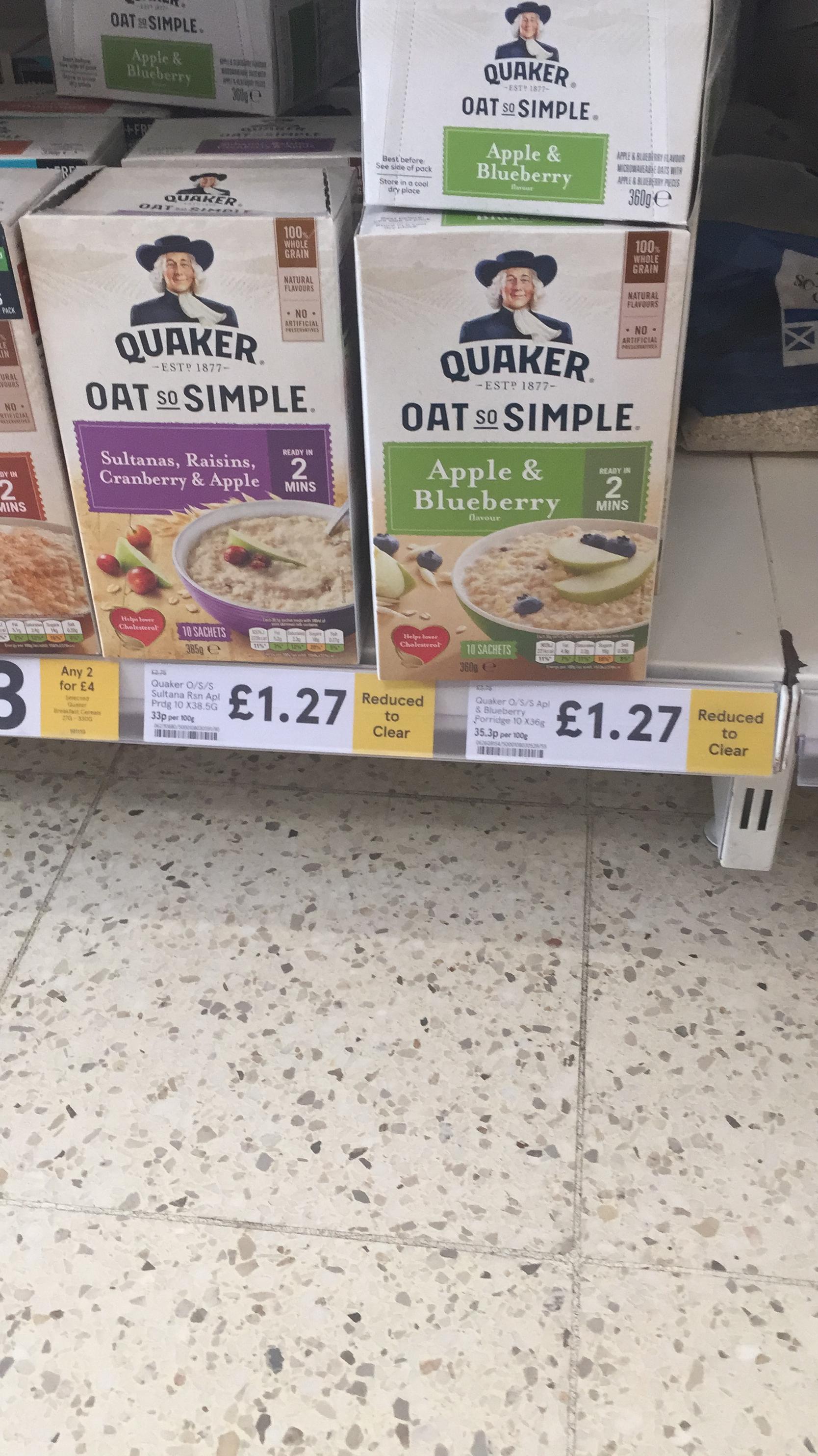 Quaker oat so simple 10 pack - 2 flavours £1.27 instore @ Tesco (Sheffield)