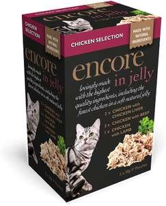 Encore Cat Food Pouch Chicken Selection, 5 x 50g x(?4 so 20 Pouches) £2.60 + £4.49 delivery Non Prime @ Amazon