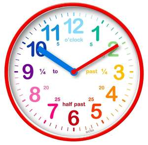Acctim Colourful Educational Children's Wickford Wall Clock - White - £6.79 with Code + Free Click & Collect @ Robert Dyas