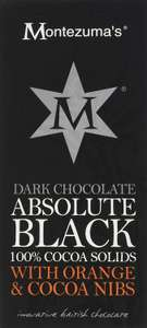 Montezuma's Absolute Black 100 Percent Cocoa Nibs and Orange Bar, 100 g, Pack of 6 (Add-on item) £2.57 @ Amazon