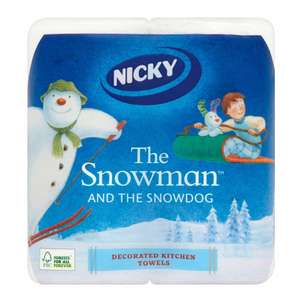 Nicky The Snowman and the Snowdog Kitchen Roll Decorated x2 Rolls for £1.00p @ Wilko
