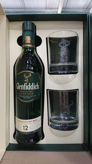 Glenfiddich 12yr gift pack 70cl +2 glasses £23.98 inc vat @ Costco