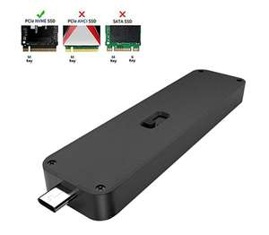 QNINE NVME ssd enclosure caddy USB 3.1 (no cable required), telescopic USB C interface £20.16 Amazon