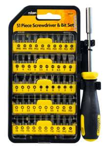 Rolson 51 piece Screwdriver & Bit Set - £6.79 with code + Free Click & Collect @ Robert Dyas