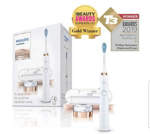 Philips Sonicare DiamondClean Electric Toothbrush, 2019 Edition, Rose Gold UK 2-pin Bathroom Plug with USB Travel Charger £99.99 Amazon