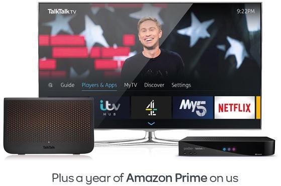 Talk talk Fibre broadband, TV and 1 year Amazon Prime £25.95 pm (18month contract)