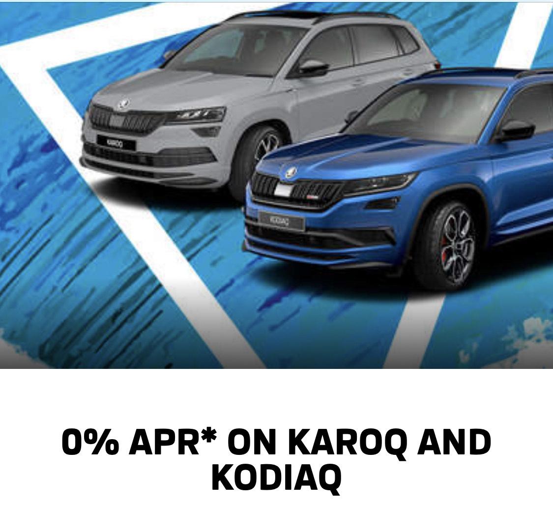 Skoda offering 0% APR ON Karoq and Kodiaq only