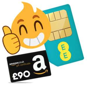 £90 Amazon voucher on EE £24/month Sim Only. Unlimited minutes & texts, 50GB data (12 month £288/£198 effective with reward) via PepperBonus