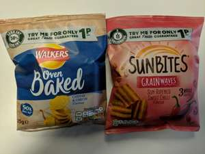 Sunbites sweet chilli/ walkers oven baked cheese and onion / snack a jack's salt and vinegar - 1p @ Sainsbury's instore (Various stores)