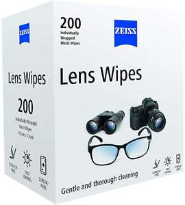 ZEISS Lens Wipes - Pack of 200 £6.14 Prime / £10.63 Non-Prime or Free Delivery for orders over £20 @ Amazon