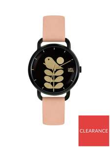 Orla Kiely Black and Gold Bird and Stem Dial Pink Leather Strap Ladies Watch £49.50 @ Very + free Click and Collect