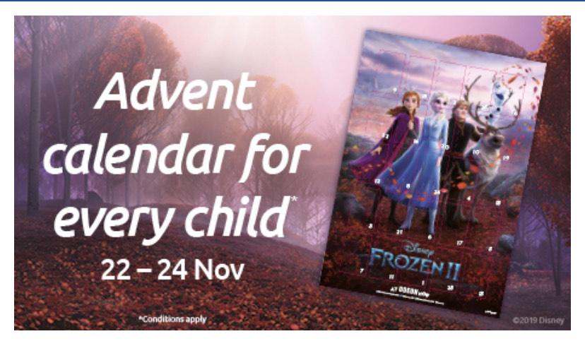 Odeon - Free Frozen 2 Calendar With Child Tickets