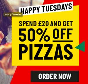 Spend £20 and get 50% OFF (Pizza Only) @ Papa Johns