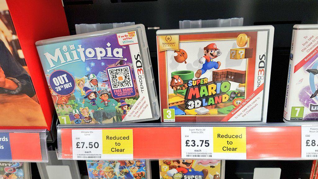 Super Mario 3D Land £3.75, Miitopia £7.50 Nintendo 3DS @ Tesco