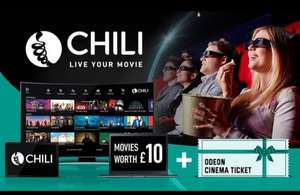 £10 Towards the Newest Movies from CHILI plus a Cinema Ticket at ODEON Cinemas 12%TCB £5.99 @ GROUPON
