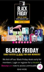 Superdrug Black Friday Event for Health & Beauty Card Members