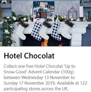 Free Advent Calendar at Hotel Chocolat for Barclays Premier Banking Customers