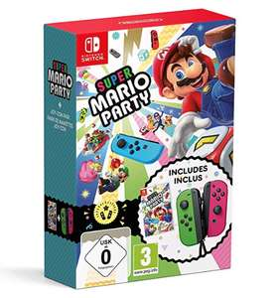 Amazon Super Mario Party + Neon Green/ Neon Pink Joy-Con (Nintendo Switch) 79.92 @ Amazon France