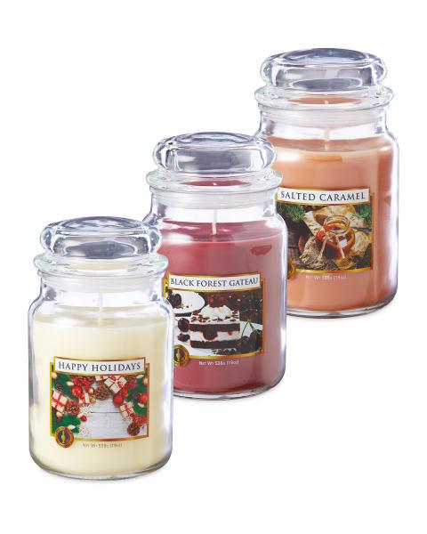 Aldi Xmas candles,536g( Happy Holidays/Black Forest Gateaux/Salted caramel) Candles £3.99 @ Aldi