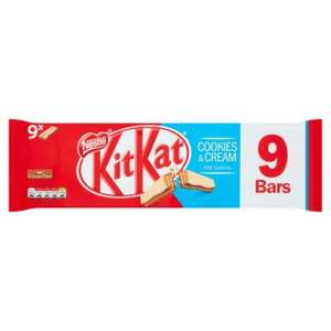 KitKat 2 Finger Cookies & Cream Chocolate Biscuit Bar, 9 Pack £1 @Asda