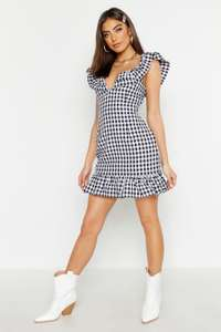 Gingham ruffle detail mini dress £6 + £3.99 delivery at boohoo