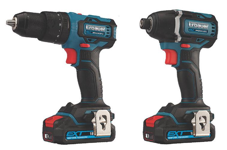 Erbauer EID18-LI / ECD18-LI-2 18V 2 x 2.0AH Li-ion EXT Brushless Cordless Twin Pack £119.99 @ Screwfix