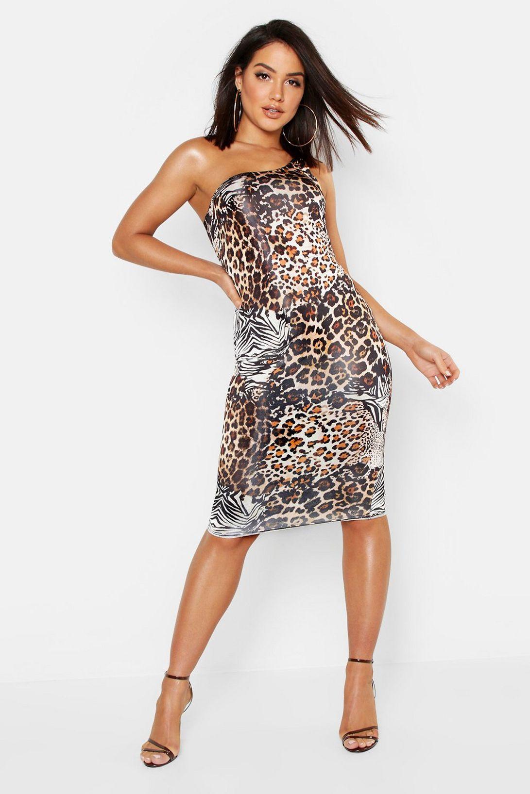 Animal print one shoulder midi dress £4 + £3.99 delivery at boohoo