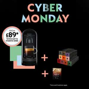 Nespresso VertuoPlus Coffee machine with 100 capsules and 2 months free subscription £89 at Nespresso
