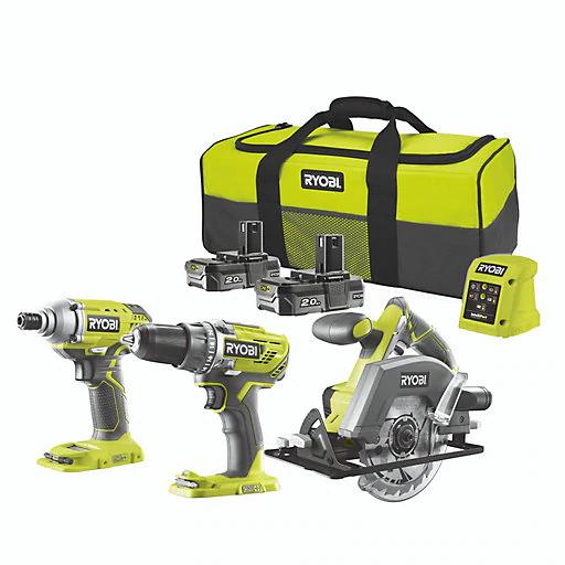 Ryobi ONE+ Cordless 18V 2Ah ONE+ Brushed Drill, impact driver & circular saw 2 batteries + FREE TOOL OF CHOICE - £160 @ B&Q