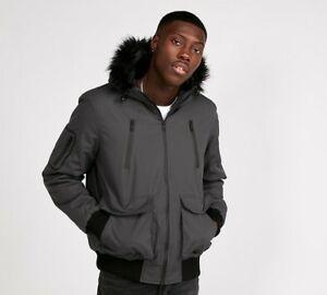 Mens Brave Soul Bradshaw Tech Fur Charcoal Hooded Bomber Jacket Sizes M -XL £23.99 Delivered (With Code) @ Footasylum Outlet eBay