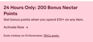 200 Nectar Points on £10 Spend at ebay.co.uk
