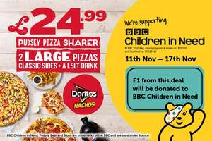 Pizza Hut Pudsey Pizza Sharer - 2 Large Pizzas, 2 Classic Sides & 1.5LT Drink £24.99 Delivered @ Pizza Hut