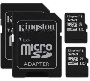 2 X 32GB Kingston Canvas Select (SDCS) MicroSD Class 10 UHS-I Speeds Up to 80 MB/s + SD Card for £6.66 Prime/+£4.49 NP @ Amazon UK