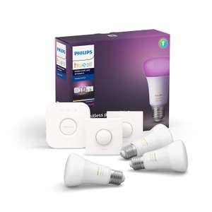 Philips Hue White and Colour Ambience Smart E27 Bulb Starter Kit (3 A60 E27 Bulbs, 1 Bridge, 1 Dimmer Switch) £97.84 @ Amazon