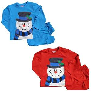 Kids Snowman Christmas Pyjamas Cotton from £4.95 @ ebay / baby1stop_outlet
