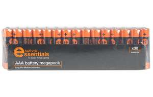 Halfords Essentials 30 AA or AAA Alkaline batteries – £5 (Free Click & Collect)
