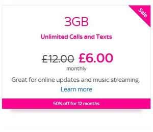 Sky Mobile Sim Only - 3GB, Unlimited Calls & Texts - £6pm x 12 Months . Net £2.67 pm after £40 Top Cashback