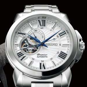 Seiko Premier Automatic Signature Mens Open Heart Watch White Dial £265 AMJ Watches