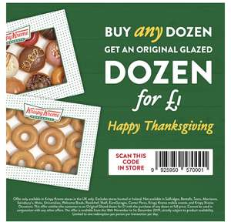 Buy any Dozen and get a Original for £1 @ Krispy Kreme