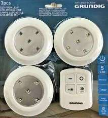 Grundig 3 x LED push lights with remote control £3.99 Home Bargains Tees