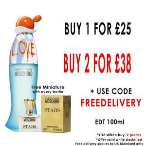 TWO Moschino I Love Love edt 100ml + TWO free Moschino Stars Miniatures £38 delivered with code @ Beauty Base