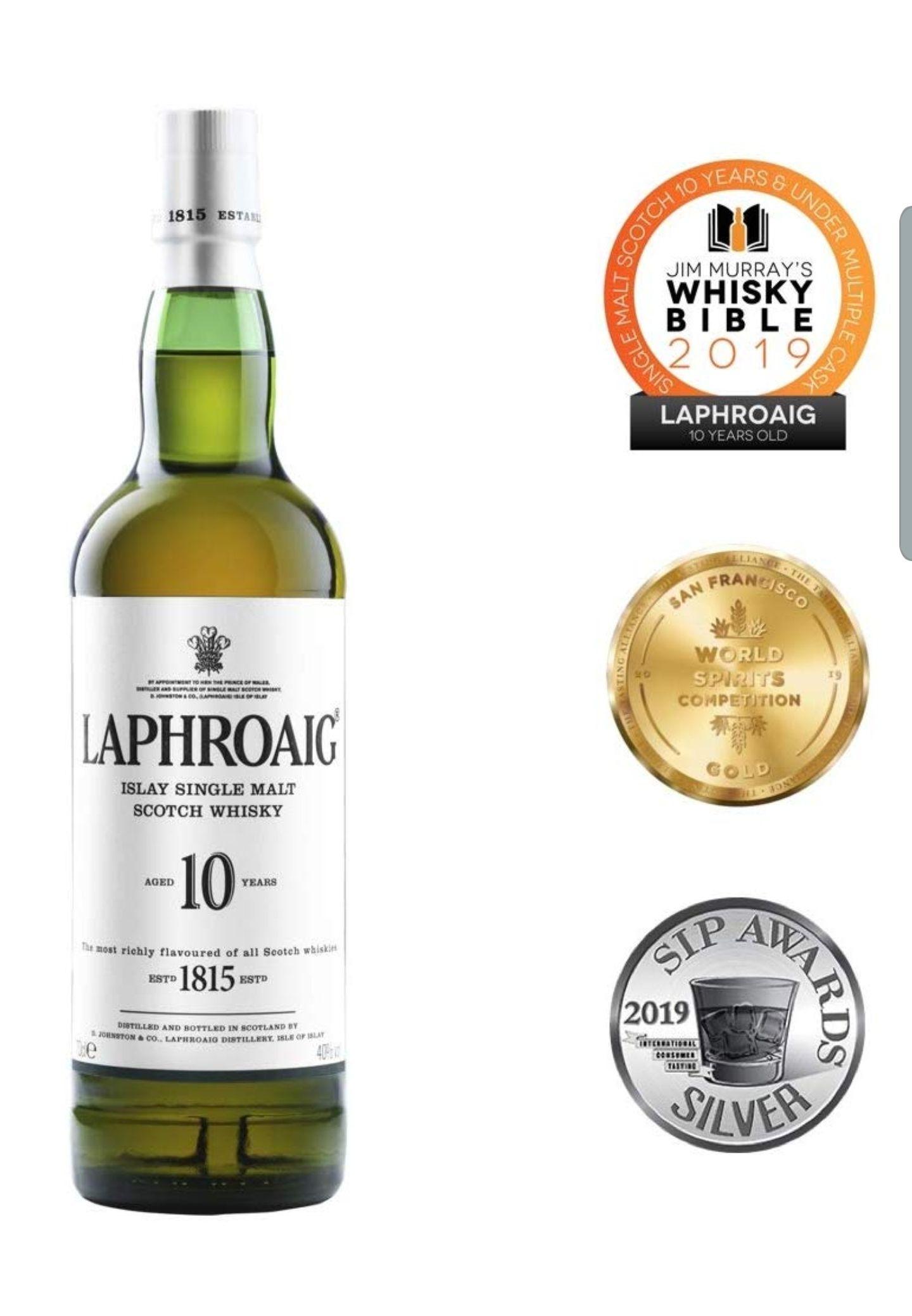 Laphroaig 10 Year Old Islay Single Malt Scotch Whisky, 70 cl £26 at Amazon and Tesco.