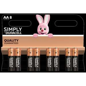 Simply Duracell AA 8 pack £2.99+50p p&p @ Home Bargains