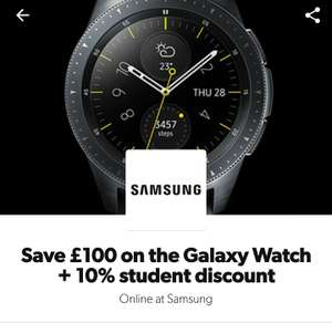 Samsung Galaxy Watch 46mm £179.00/42mm £161.10 With £100 off plus 10% student discount