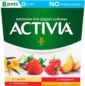 Activia No Added Sugar 0% Fat Mixed Fruits Yogurt 8x120g - £1 @ Heron Foods